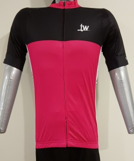 """Keep Going"" Racer Cut Cycling Jersey (Deep Pink)"